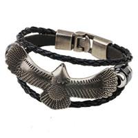 achat en gros de bracelet aigle-Vente en gros-main rétro en cuir tissé Eagle Bracelet charme hommes Vintage Bracelets Bracelets mâle Bijoux YW479