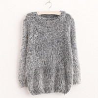 Wholesale Fashion Women Autumn Winter Warm Mohair O Neck Women Pullover Long Sleeve Casual Loose Sweater Knitted Tops