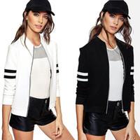 Femmes Veste de base-ball Noir Blanc Coréen Européen Mignon Long Sleeve Zipper Coat Survêtement Sportwear Basique Bomber Sweatshirt Hoodies YYFS 5363