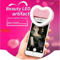 Plastic big lighted mirror - Universal Charm eye LED Flash Selfie fill Light Heart Shape Mini Flashes Clip with big mirror case phone Holder for Smartphone