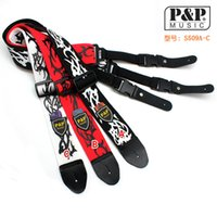 Wholesale P P Soft Thick Cool Pattern Cotton Adjustable Bass Acoustic Electric Folk Guitar Strap with Leather Ends
