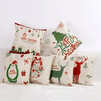 Wholesale Christmas Pillow Case Cover Tree Santa Pillowslip Claus Deer Elk Cotton Linen Throw Sofa Chair Cushion Cover Decorative