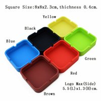 Wholesale High Quality Portable Square Silicone Ashtray Eco friendly Shatterproof Smoking Accessories Cigarette Ashtray For Home YHG002