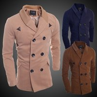 Wholesale 2017 New Winter Casual Mens Trench Coat Outwear Jacket Solid Double Breasted Design Men windbreaker Overcoat Slim Fit Male Coats