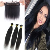Wholesale Straight Brazilian Virgin Hair Bundles With Lace Frontal A Unprocessed Virgin Human Hair Bundles With Full Lace Frontal Closure