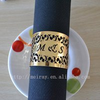 Wholesale laser cut india napkin rings for wedding gold napkin rings