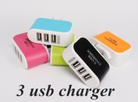 Wholesale US EU Plug USB Wall Chargers V A LED Adapter Travel Convenient Power Adaptor with triple USB Ports For Mobile Phone D8