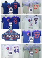 Wholesale 2016 World Series champions patch Chicago Cubs Javier Baez Kris Bryant Anthony Rizzo Jersey White Blue Gray Stitched Baseball jersey