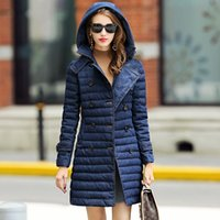 Wholesale 2016 in the long section Slim high end hooded denim double breasted women s down jacket