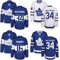 al por mayor xxl para los hombres-Hombres Toronto Maple Leafs 34 Auston Matthews 16 Mitch Marner Azul 100o 2017 Centennial Classic Premier Jersey cosido S-3XL