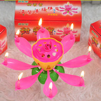 Wholesale Music Flower Candles Blossom Lotus Candles Lamp New Arrival Sparkle Cake Topper Candle for Birthday Party