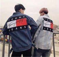 al por mayor chaquetas con cremallera mujeres-Tommy Jeans Patch Hip Hop Zips Prendas de vestir USA Streets marca popular justin bieber denim chaqueta para hombres / mujeres abrigos