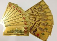 Wholesale Gold Foil Dollar Commemorative Collections Banknote New Unique Fashion Paper Money Home Decor Arts Christmas Gifts