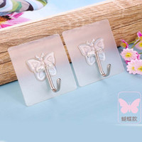Wholesale Practical apple butterfly cover Top Grade Seamless hook Bathroom glue stick strong Hanger Bathroom Kitchen tool