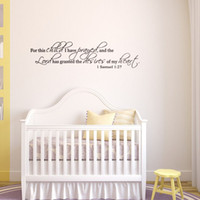 bible quote life - 119x29cm English Motto Bible Quotes For This Child I Have Prayed Vinyl Wall Stickers Removable Art Mural for Home Decoration Kids Bedroom