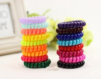 Wholesale High Quality Hair Scrunchie Telephone Wire Elastic Hairbands Plastic Bracelets for Ladies or Girls large size colorful free ship