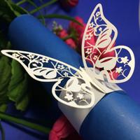 Wholesale Laser cut butterfly Napkin Rings Serviette Holder Wedding Banquet Dinner Decor Favor