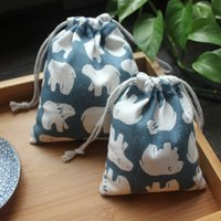 Wholesale Top Fashion New Pen Case Lapices Hello Mr Bear Made Cloth Language Original Manual Cotton Bags Drawstring Tote Gift Bag