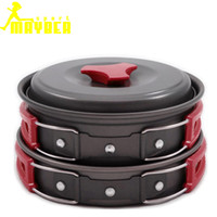 anodised aluminum - 7pieces set Outdoor camping Portable Cookware Cooking Set Mess Kit Anodised Aluminum Non stick Pot Bowl Camping Picnic Hiking Utensils B053
