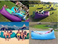 Wholesale DHL Fast Inflatable Air Sleeping Bag Hangout Lounger Air Camping Sofa Portable Beach Nylon Fabric Sleep Bed with Pocket and Anchor HHAK