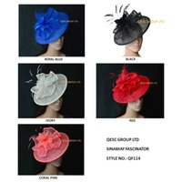 Wholesale New arrival Big Sinamay hat fascinator with feather flower for Kentucky derby