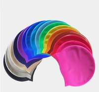 Wholesale Durable Stylish Sporty Latex Swimming Swim Cap Bathing Hat Blue White Black Pink mixed colors