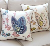 Wholesale Hot sale X18 quot Cotton Linen Velvet Applique Embroidered butterfliy and flower pillow cover drop shipping decorative soft eco pillowcase