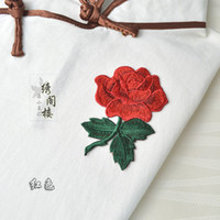 al por mayor prendas de vestir con motivos-Coser en remiendos de rosa Appliques bordados Flor Motif Patch de vestir vestido de reparación de decoración