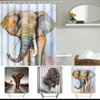 Wholesale 3D Printing Shower Curtains x180cm Elephant Printed Waterproof Polyester Shower Curtain Bathroom Partition Curtains design KKA1389