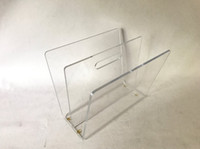 Wholesale Clear acrylic Mid Century Modern Lucite Acrylic W Shaped Magazine Rack with Handle layers book shelf