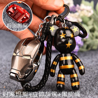 Wholesale Violent bear the United States captain spider man iron man male couple car keys Pendant
