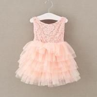 al por mayor rosa rosa ropa de niña bebé-Los cabritos de las muchachas Rose ata el vestido 2017 de la muchacha del verano de la niña del vestido de la colmena del vestido de la princesa del arco Los vestidos de partido del bebé de la princesa Bow Flower Party arropan la ropa S518
