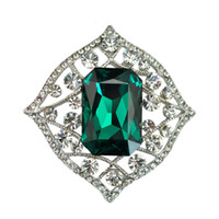 Wholesale Antique Victorian Art Deco Created Emerald Crystal Filigree Brooch Silver Tone Square Stone Domed Paisley Broach for Grandmother
