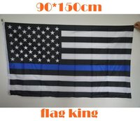 Wholesale 5 Types cm BlueLine USA Police Flags x5 Foot Thin Blue Line USA Flag Black White And Blue American Flag With Brass Grommets