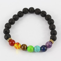 Wholesale Muti color Design Mens Bracelets Black Lava Chakra Healing Balance Beads Bracelet For Men Women Rhinestone Reiki Prayer Stones