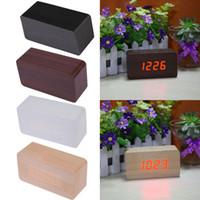Wholesale High Quality LED Digital Alarm Clock Calendar Thermometer Morden Wooden Clock Home Decoration ASLT