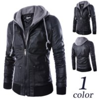 Wholesale Brand New Men s Motorcycle leather jacket Faux Fur one colors drop shipping