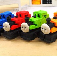 Wholesale Mini Cartoon Car Shape Rubber Eraser Stationery School Kid Prize Gift New Toy Cute Eraser For Kid School Suppliers Papelaria
