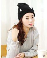 Wholesale Bing Bing personality Hat Black Knit Wool Hat cat ears curling ear winter hats