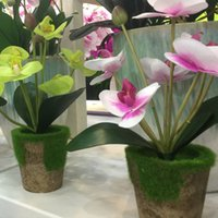 PU Plastic artificial pot plants - With Pot Decorative Purple Green White Vivid Artificial Phalaenopsis Moth Orchid Flowers Office Party Meeting Home Decor