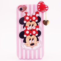 Wholesale Cute Mobile Pouches - 3D Cartoon Double head minnie silicone case for iphone 6 6plus 7 7plus cute soft silicon mobile phone accessories