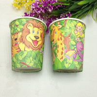 Wholesale Jungle King Lion theme paper cups tableware kids favors for event party supplies child happy birthday party decorative cup