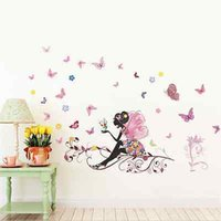 achat en gros de fille lune autocollant-Beautiful Flower Fairy Stickers autocollants muraux Wing Moon Butterfly Girls room Décor Flower Fairy Sitting Vines Stickers muraux
