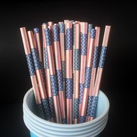 Wholesale 500pcs Independence Commodity National Day disposable paper straw Environmental protection paper straw American flag color paper straw