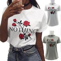 2017 New Women Casual Summer Rose T-shirt imprimé floral Basic Tee Personnalité Design Tops Coton Blend Blanc Gris XS-L