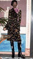 bell bird - Luxury Women Birds Print A Line Dress Flare Sleeve Dresses W1972