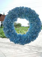 Wholesale skyblue hydrangea wreaths front door wreath inches beach wedding party birthday decoration flowers