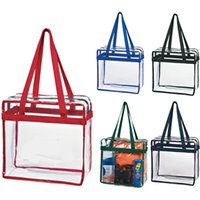Wholesale Eco friendly Thickness Beach Bags Long Handle Beach Totes Clear PVC Nylon Tote Bags Can be Customized