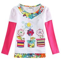 assured t shirt - Long sleeved White Floral mosaic girls Give the child a comfortable t shirt Mother to buy the rest assured