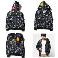 Wholesale New Fashion Men s Fashion Hoodies Creative Galaxy Sweatshirts Shark Head Zipper Jackets